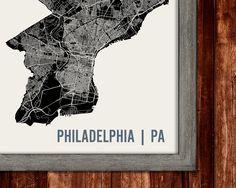 Philadelphia Map Art Print by Mr City Printing