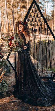 33 Beautiful Black Wedding Dresses That Will Strike Your Fancy ❤ black wedding dresses a line with sleeves v back sequins stylish bride ❤ #weddingdresses #weddingoutfit #bridaloutfit #weddinggown #women's style