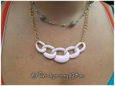 Pink Link Chain Necklace Go to:  facebook.com/hotflairs  etsy.com/hotflairs