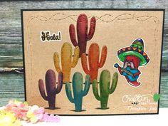 Craftin Desert Divas - Fiesta Time stamp, Mini Cactus Dies and Crazy Stitched Frame dies