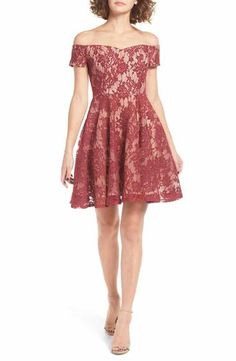 Soprano Lace Off the Shoulder Fit & Flare Dress