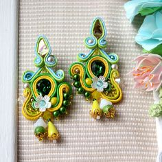 Soutache earrings with Swarovski crystals and handmade beads. Yellow green earrings. Beaded embroidery jewelry. by SvetlanaJewellery on Etsy