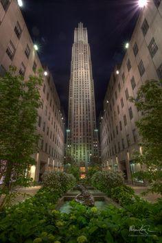 NYC. Rockefeller Plaza . Nice contrast between green garden and brown stone