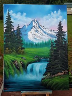 Original Oil Painting in Bob Ross Style Mountain - Malerei Waterfall Paintings, Scenery Paintings, Mountain Paintings, Nature Paintings, Beautiful Paintings, Landscape Paintings, Nature Artwork, Indian Paintings, Abstract Paintings