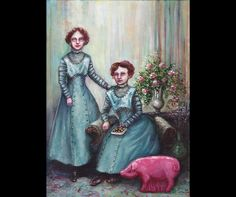 Marzipan and The Peppermint Pig, Women, Portrait, Red Hair, Pink Pig, Candy, Box of Candy, Two Women, Blue Dresses, Victorian Themed Art by mygoodbabushka on Etsy