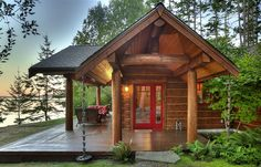 The cutest little guest house-- red door and remarkable view included.