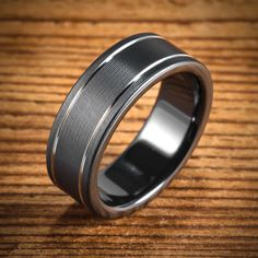 Custom Wedding Rings Black Zirconium Bi-Color Ring with Two Stripes from Spexton Custom Jewelry - MADE TO ORDER: Ships in Weeks, or Days with the purchase of Rush service. Titanium Wedding Rings, Custom Wedding Rings, Black Rings, Wedding Bands, Wedding Venues, Wedding Ideas, Wedding Planning, Wedding Stuff, Men Accessories