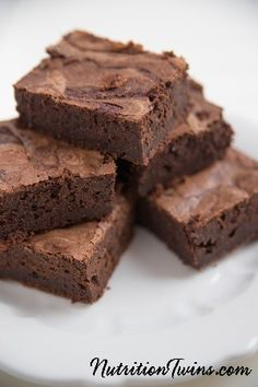 Fudgy Brownies | Guilt-free Dessert | Sweet, Delicious | Only 115 Calories | Made with black beans & @egglandsbest  .client | For MORE RECIPES, fitness & nutrition tips please SIGN UP for our FREE NEWSLETTER www.NutritionTwins.com