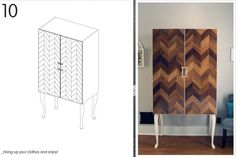 a serious, but beautiful cabinet DIY, create a herringbone pattern out of flooring and glue on the face of a cabinet