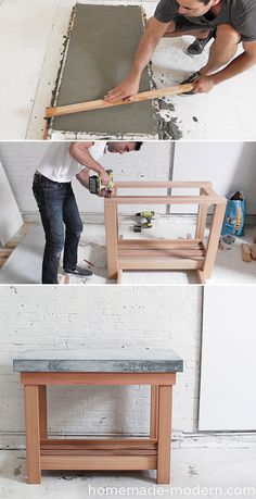 diy wood kitchen island with a concrete top. Great tutorial!