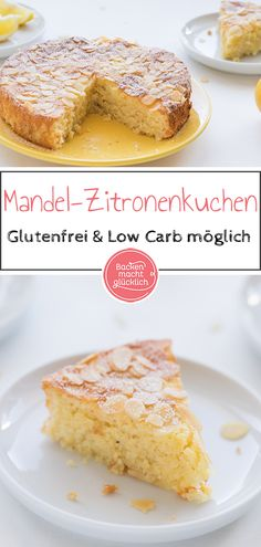 Mandel-Zitronen-Kuchen ohne Mehl This flour-free almond and lemon cake is extremely juicy and delici Lemon Desserts, Healthy Dessert Recipes, Cupcake Recipes, Low Carb Recipes, Snack Recipes, Smoothie Recipes, Diet Recipes, Healthy Snacks, Law Carb