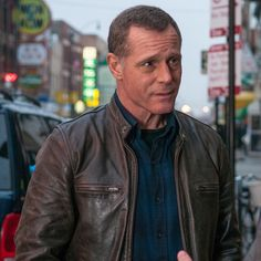 TV Series Chicago PD The Hank Voight leather jacket from the hit TV series, Chicago PD, is available at a special discount for a limited time only. Chicago Police, Chicago Med, Chicago Fire, Good Looking Older Men, Kim Adams, Patrick John Flueger, Hank Voight, Tracy Spiridakos, Jason Beghe