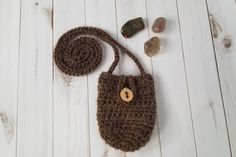 Crochet Crystal Pouch with Wooden Leaf Button and Alpaca/Wool Yarn