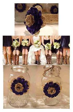 8 Mason Jar Country Purple Burlap Flower Centerpiece Barn Wedding Decorations | eBay