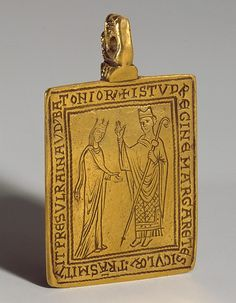 1174–77, Canterbury, England. . Reliquary Pendant with Queen Margaret of Sicily Blessed by Bishop Reginald of Bath.