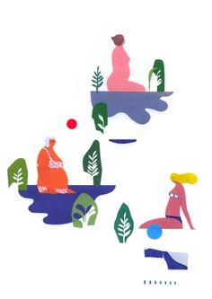 verossignól : Hampstead ponds #illustration #cutpaper #collage