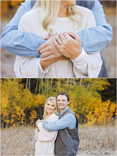 Fall Engagement Session - Outdoor - Red Lodge - Autumn - Gold Trees - Montana - Engaged Couple - Fiancé - Man - Woman - Grass - Trees - Arms Around - Hugging - Engagement Ring - Wedding Ring - Diamond Ring - Ring Shot - White Sweater - Blue Denim Shirt - Carhartt Vest - Montana Wedding Photographer - Sara Nagel Photography