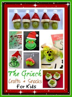 Grinch Crafts and Snacks-Fun projects inspired by the Grinch Preschool or Kindergarten Activity: Grinch Crafts and Snacks-Fun projects inspired by the Grinch O Grinch, Grinch Stuff, Grinch Christmas Party, Grinch Who Stole Christmas, Grinch Party, Xmas, Kindergarten Reading Activities, Kindergarten Lesson Plans, Classroom Crafts