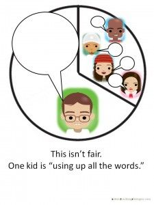 """Pie chart visuals: Great social skills tool to help kids with ASD to talk MORE or LESS in groups or class from """"Autism Teaching Strategies""""."""