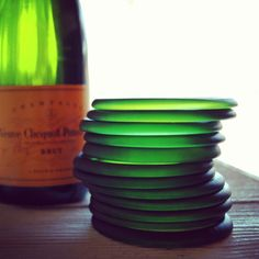 Here's a brilliant excuse to pop the cork: green glass bangles upcycled from old Champagne bottles. #etsy