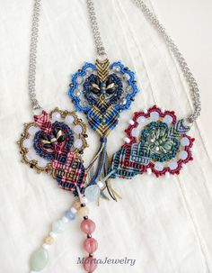 Bohemian necklace macrame necklace micro-macrame jewelry