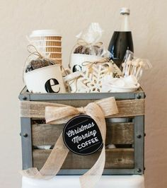 DIY Gourmet Holiday Gift Baskets For the coffee lover on your list… Holiday Gift Baskets, Diy Gift Baskets, Christmas Baskets, Diy Christmas Gifts, Holiday Gifts, Basket Gift, Coffee Gift Baskets, Holiday Ideas, Homemade Gift Baskets