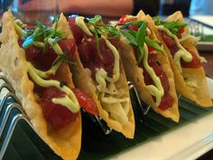 Ahi Tuna Tacos on Wonton Shells @Michael Kilpatrick