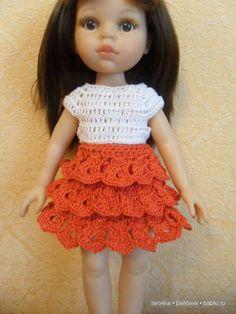 Уроки вязания крючком. Юбка с оборками для куклы - http://babiki.ru/blog/master/39322.html