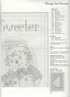 Schematic cross stitch Things Are Sweeter 05 Cross Stitch Angels, Cross Stitch For Kids, Just Cross Stitch, Cross Stitch Needles, Cross Stitch Baby, Cross Stitch Charts, Cross Stitch Patterns, Cross Stitching, Cross Stitch Embroidery