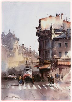 Corneliu Dragan Watercolor City, Watercolor Sketchbook, Watercolor Artists, Watercolor Techniques, Watercolor Landscape, Watercolour Painting, Art Techniques, Painting & Drawing, Landscape Paintings