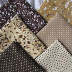Набор тканей из 6 лоскутов, 100% хлопок, кофейный