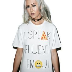 Fluent in Emoji Tee ($52) ❤ liked on Polyvore featuring tops, t-shirts, short sleeve tee, graphic t shirts, goodie two sleeves, graphic design tees and graphic tees