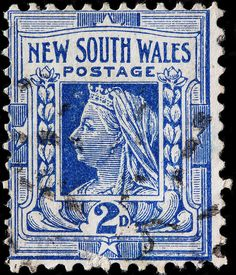 "New South Wales 1897 Scott 99 deep blue ""Queen Victoria"" Rare Stamps, Vintage Stamps, Postage Stamp Design, Going Postal, Stamp Printing, Pin Up, Stamp Collecting, Mail Art, My Stamp"