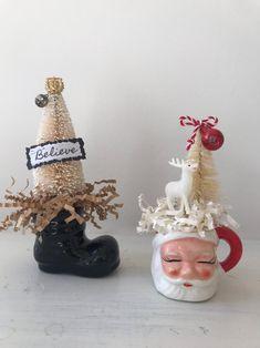 Vintage Ornaments, Vintage Santas, Glass Ornaments, Vintage Centerpieces, Christmas Centerpieces, Christmas Minis, Vintage Christmas, Christmas Ornaments, Santa Mugs