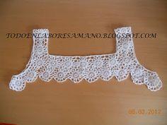 Crochet edging for tops granny squares 65 Ideas Col Crochet, Crochet Fabric, Crochet Collar, Crochet Girls, Cotton Crochet, Thread Crochet, Lace Knitting, Crochet Patterns, Crochet Baby