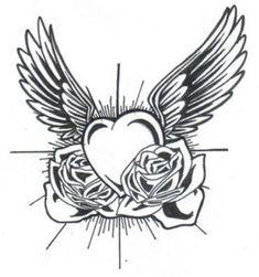 dibujos de corazones con alas a lapiz