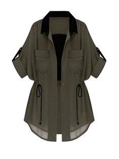 Green Half Sleeve Drawstring Chiffon Trench Coat - Mel C. - - Green Half Sleeve Drawstring Chiffon Trench Coat - Mel C. Teen Fashion Outfits, Hijab Fashion, Trendy Outfits, Fashion Dresses, Cute Outfits, How To Roll Sleeves, Half Sleeves, Stylish Dresses, Women's Dresses