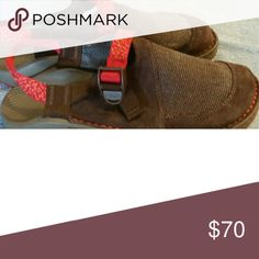 Womens Chaco clogs Like new brown suede with dark orange trim Chacos Shoes Mules & Clogs