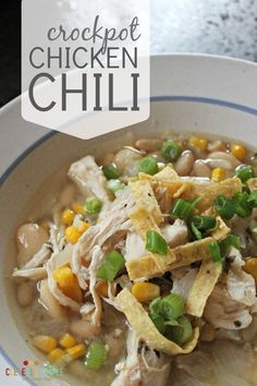 This delicious crock pot chicken chili recipe is the best ever! You can make it with an entire chicken breast and shred later. It& so easy! Crockpot Dishes, Crock Pot Soup, Crock Pot Slow Cooker, Crock Pot Cooking, Crockpot Recipes, Cooking Recipes, Chili Recipes, Soup Recipes, Chicken Recipes