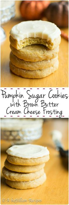 Pumpkin Sugar Cookies w/Brown Butter Cream Cheese Frosting - A baJillian Recipes - Pumpkin Recipes Pumpkin Recipes, Fall Recipes, Sweet Recipes, Beans Recipes, Pumpkin Sugar Cookies, Pumpkin Dessert, Tea Cakes, Fall Baking, Holiday Baking
