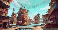 ArtStation - The floating slums, Dhruv Chakkamadam