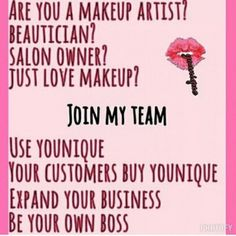 Calling all #makeup lovers, beauticians, salon owners who would like to sell #younique to their customers! Who doesn't want makeup? We ship to the UK, USA, Canada, Australia please visit www.carriesfabcosmetics.uk