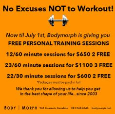 Now until July 1st get FREE PERSONAL TRAINING SESSIONS at Body Morph!  Come to Body Morph Gym in Ferndale, MI for all of your fitness needs! Call (248) 544-4646 TODAY to schedule an appointment or visit our website www.bodymorph.net for more information!