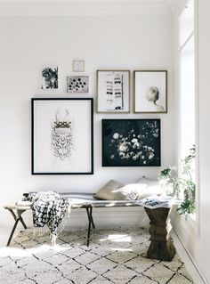 A newly created gallery wall & nook in our Toronto home. A mix of art by me, my kiddos. Gorgeous 'Dutch love' floral art by Ashley Woodson Bailey.