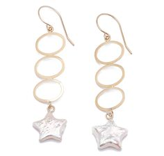 Shine like an A-lister on the red carpet when you adorn your ears with these gorgeous star dangle pearl earrings! $179.99 14K Yellow Gold Star Dangle Pearl Earrings #THESHOPPINGCHANNEL.COM #PEARLLUSTRE