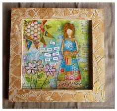 She Art Girl by Scrappassie Designs. frame is modeling paste and a texture roller. art on a canvasboard.