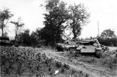 Two Panther tanks knocked out during the battle for Mortain France 1944. To the far left is a knocked American M10 Tank Destroyer denoting the close proximity of this battle.