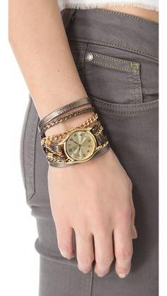 Sara Designs  Metallic Leather & Chain Wrap Watch  £126.23