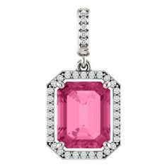 14K White Gold 10.00x8.00mm Emerald Cut Pink Tourmaline and Diamond Halo-Style Pendant -- LIFETIME WARRANTY