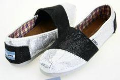 Black White Toms Glitter Shoes For Women Cheap